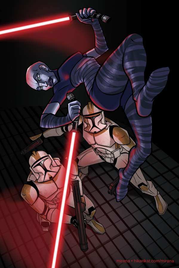 Asajj Ventress and Clones by mirana