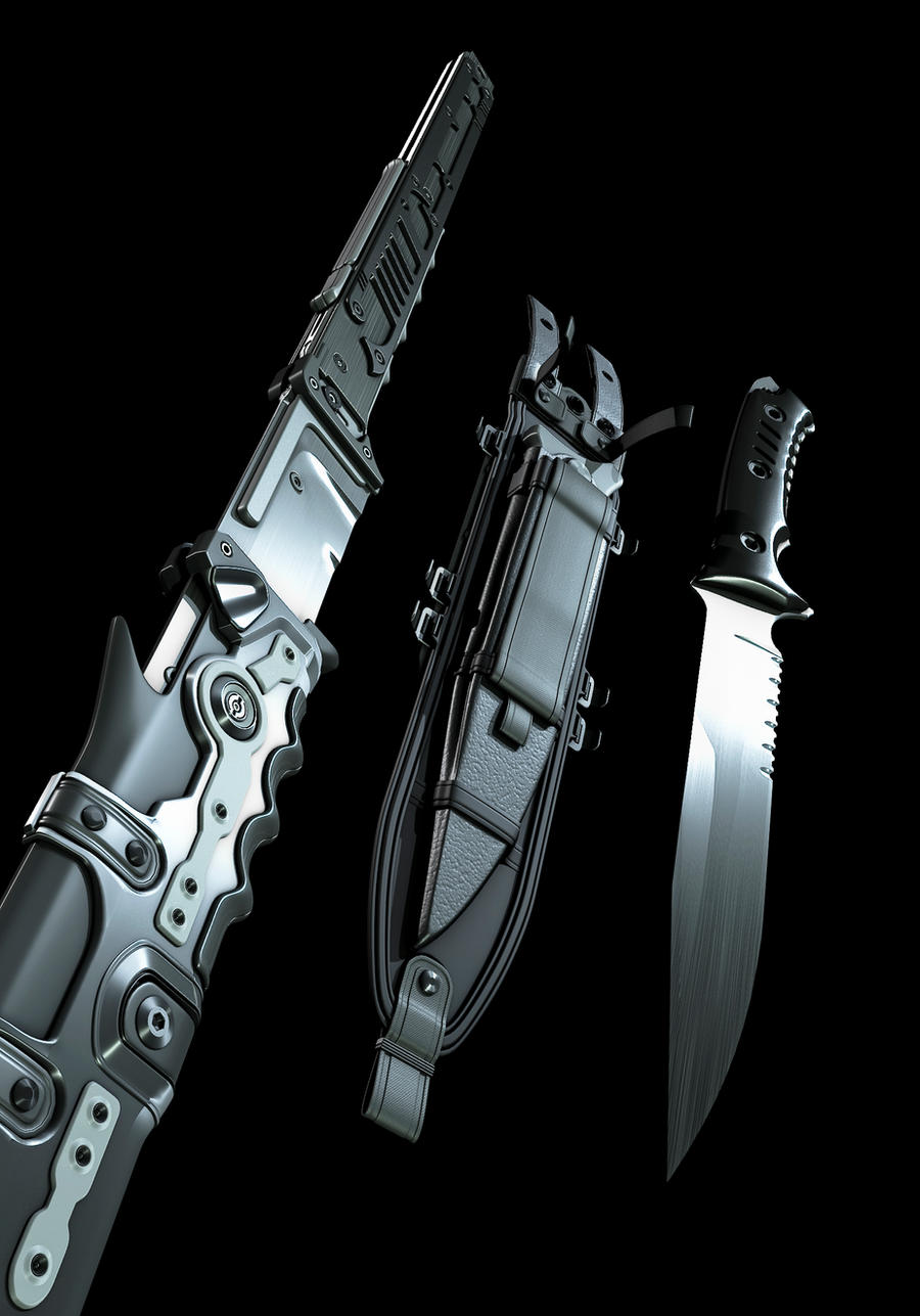 catana and combatknife closeup by MUKKELKATZE