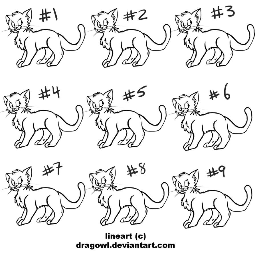 Free Cat Adoptable Lineart by Dragowl