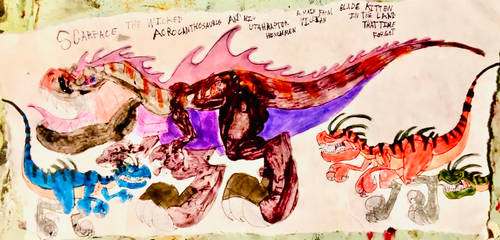 Scarface the Acrocanthosaurus and his henchmen