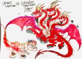 Jairex T-Rex form Vs Ommadon Dragon form