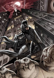 Batman looking over the city by caiocacau