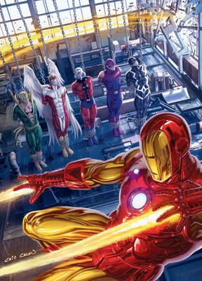Iron Man saving heroes