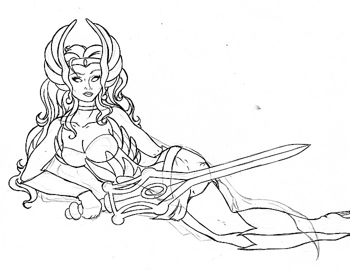 She-Ra Pinup Tattoo lineart by ~linakins on deviantART