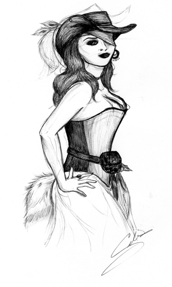 Pirate wench drawing