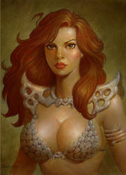 Red Sonja portrait commission by PaulAbrams