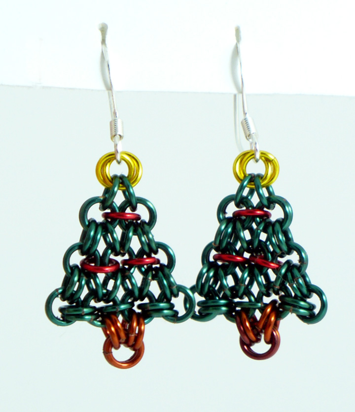 tree art christmas on earrings chainmaille deviantart by