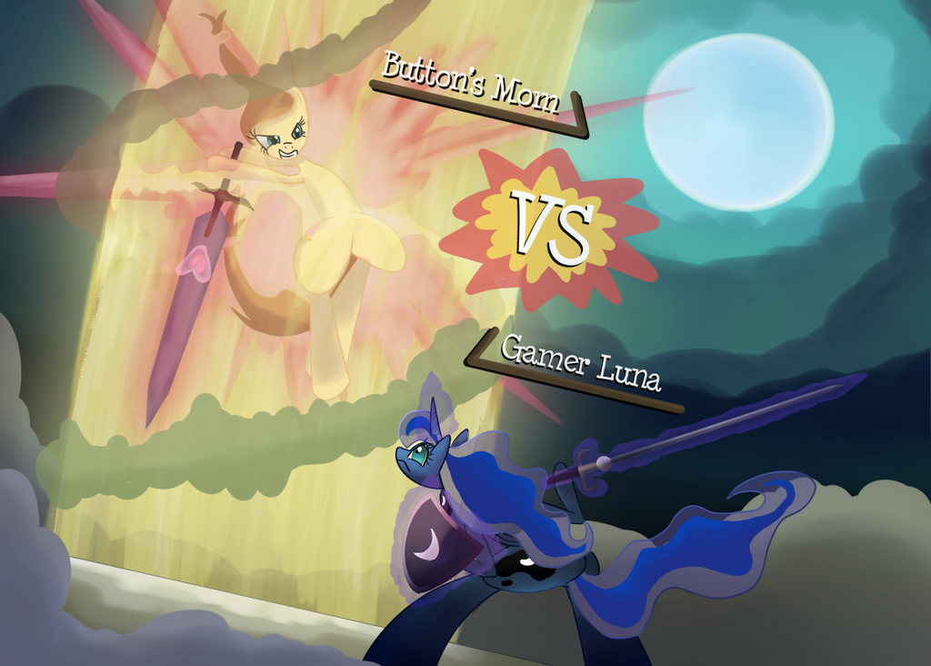 Buttons Mom VS Gamer Luna by Bendykins