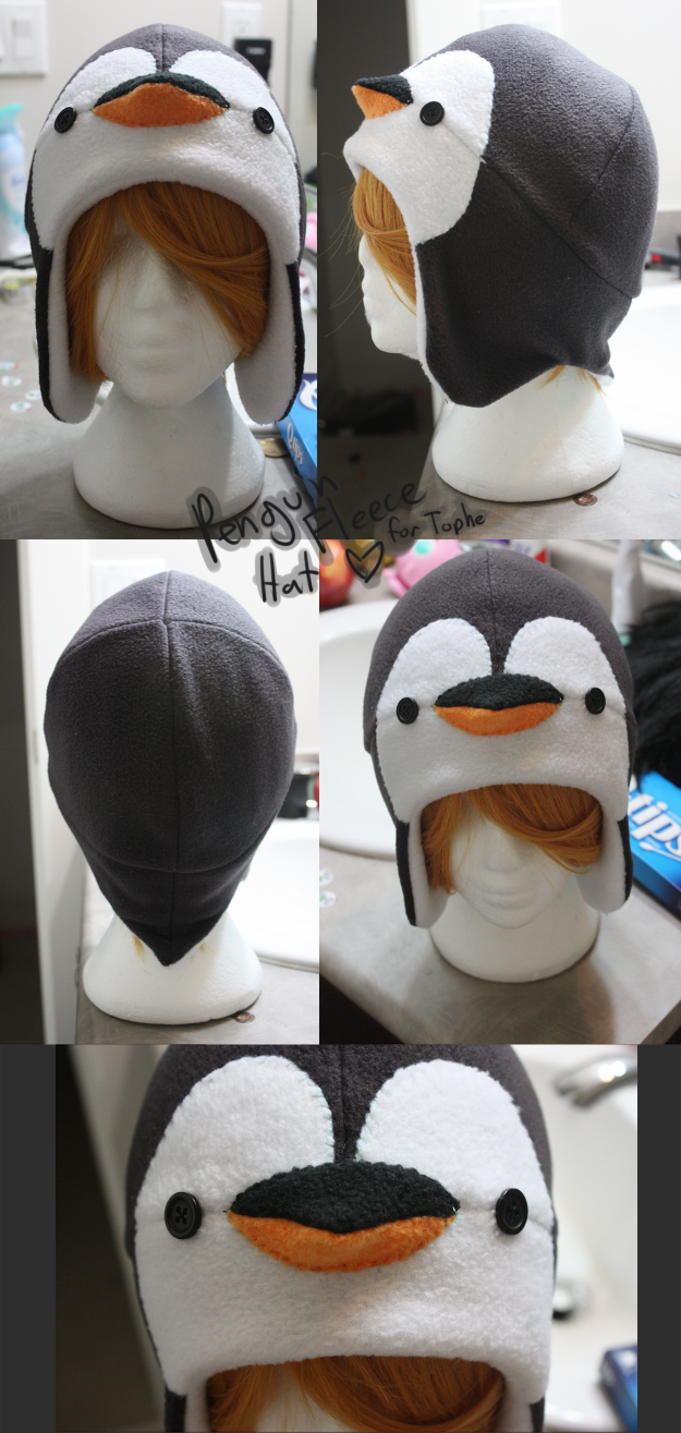 +FleeceHat:Gift+ Penguin Hat for Tophe. by Stephys-Adoptables