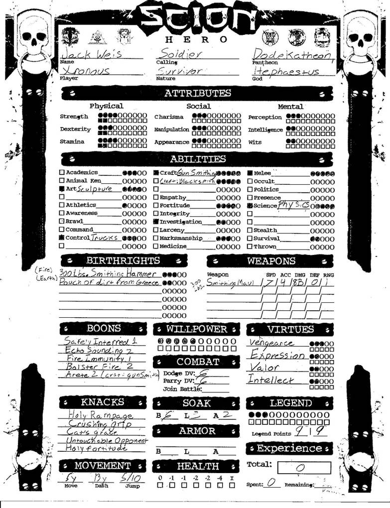 Scion Character Sheet By Dracounus Lir On Deviantart
