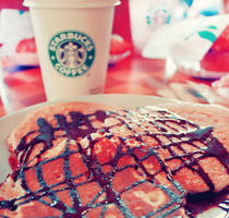 Starbucks and pancakes by Ellychicca