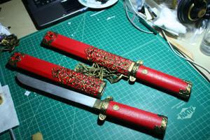 Natsu's swords Kuzukiri and Awayuki by zeemenace