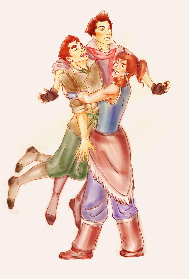 Korra Hugs Her Team by lemonsnapples