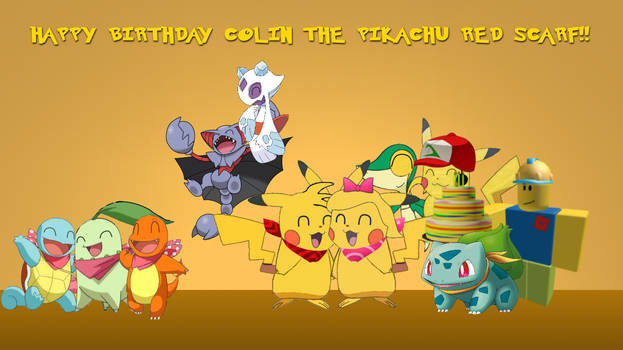 Colin the Pikachu red scarf Birthday