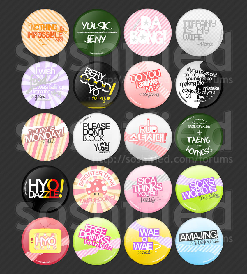 SNSD Quotes Buttons by soshified