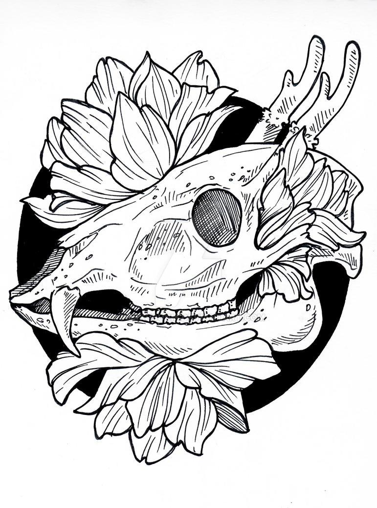 skull in flowers by FokkusuNM