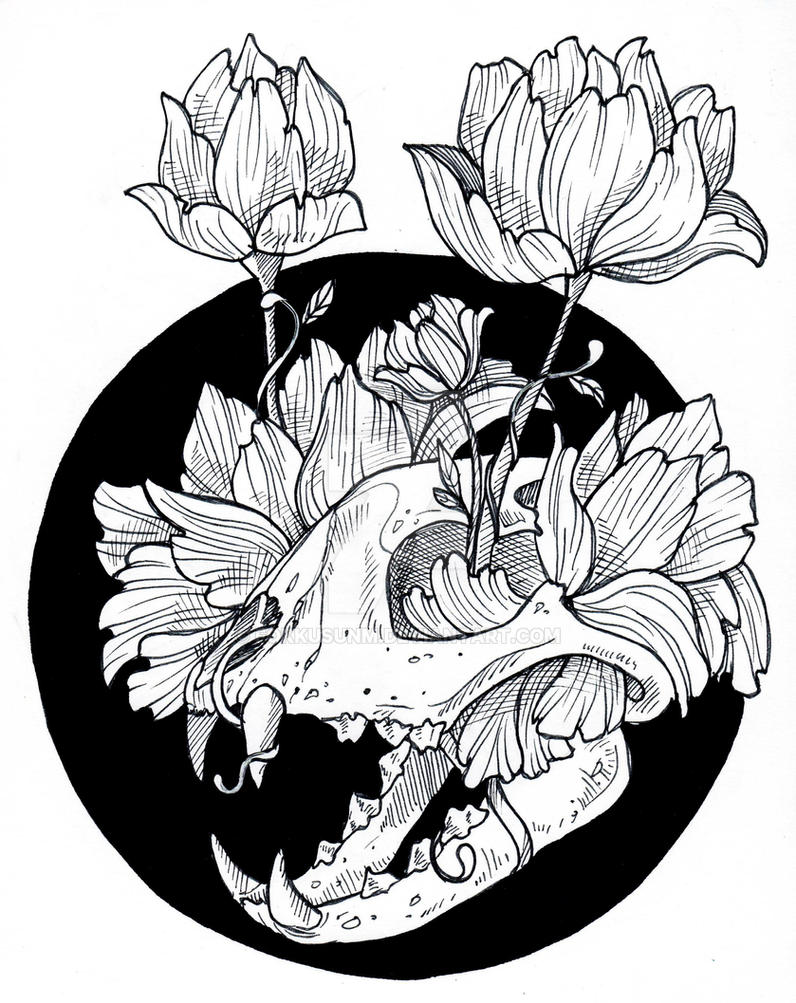 skull in flowers 2 by FokkusuNM
