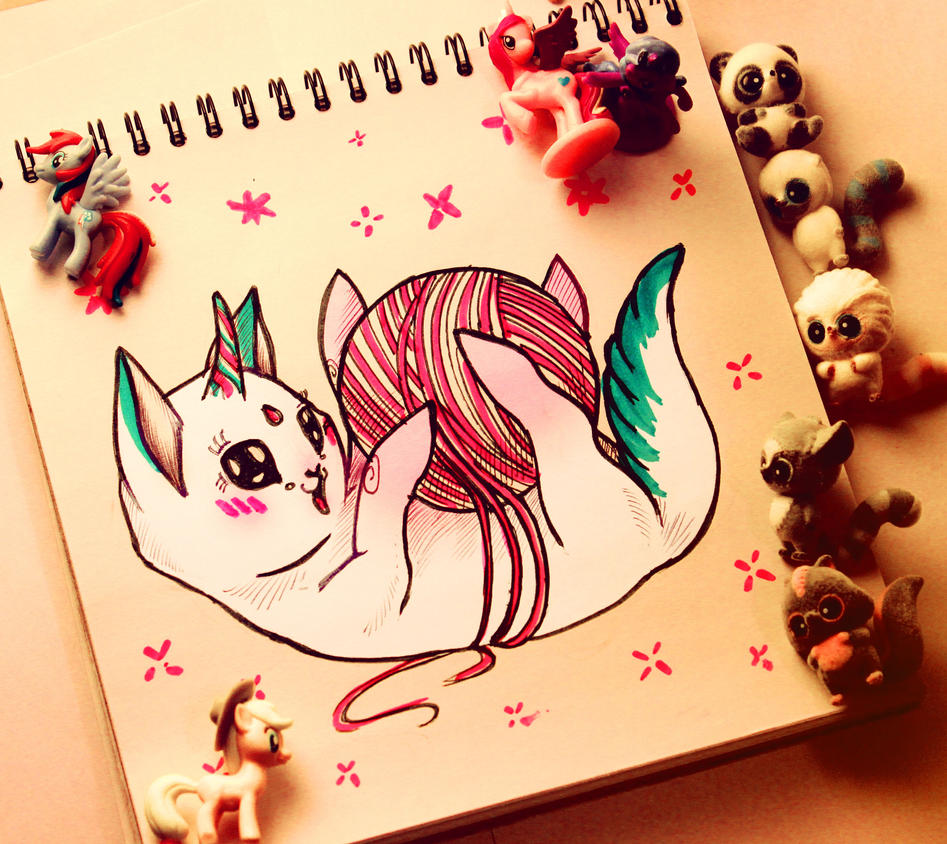 Cat unicorn by FokkusuNM
