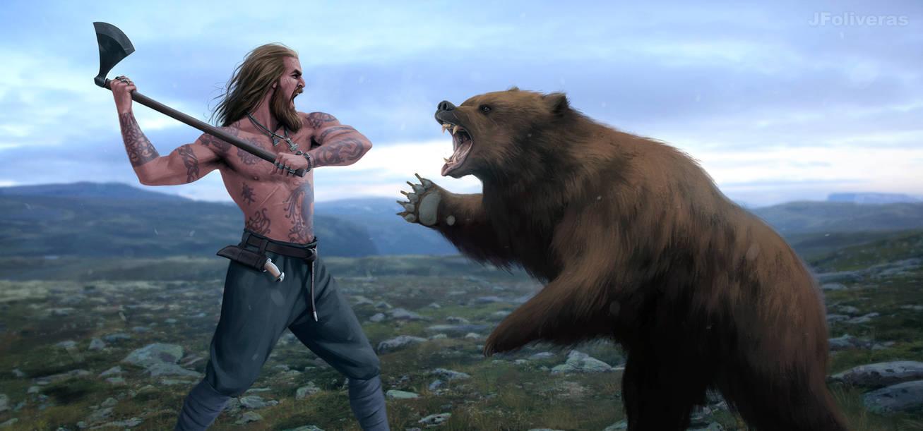 Viking vs bear by JFoliveras