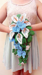 Calla Lily and Orchid beaded cascade bouquet
