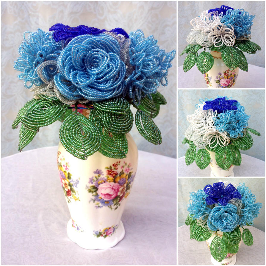 Something blue - A bouquet of beaded flowers by EverAfterArtisanry