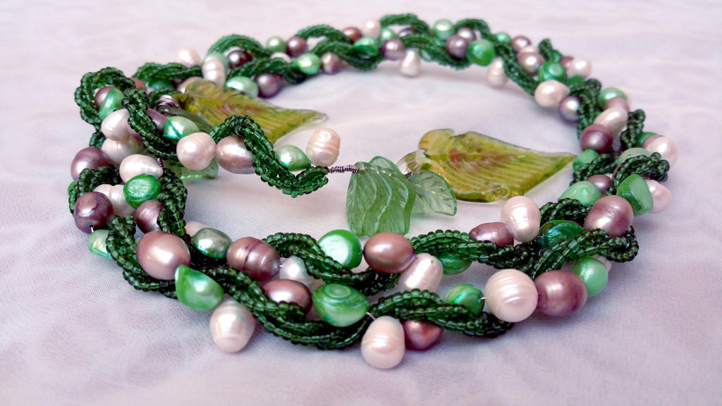 Green necklace, glass beads with freshwater pearls by EverAfterDesigns