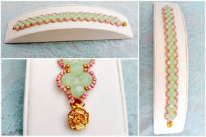 Pink and Mint - Pastel Beaded Bracelet by EverAfterArtisanry