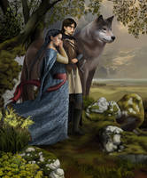 Beren, Luthien and Huan by steamey