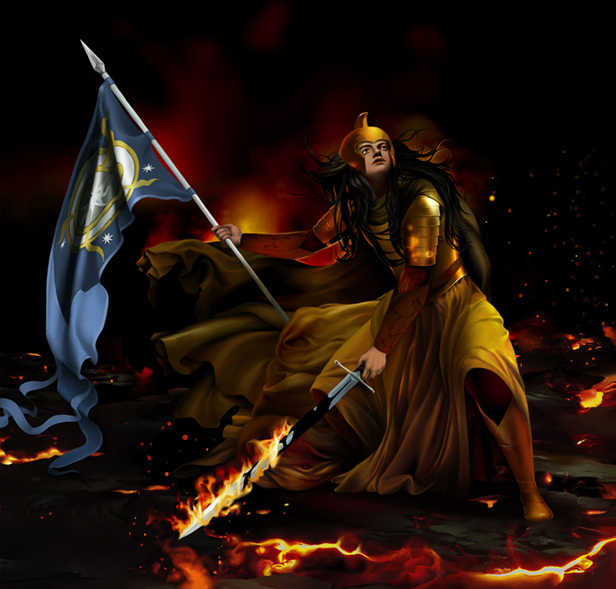 Fingon in a battle with the balrogs by steamey