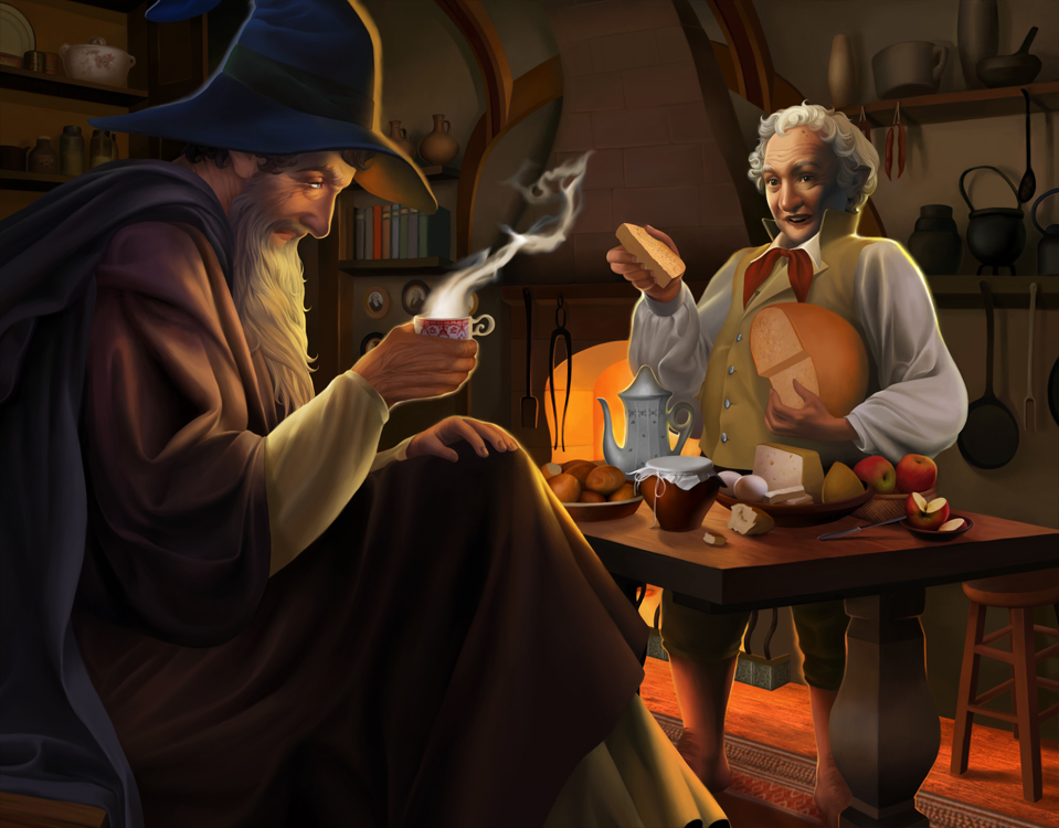 A Long-expected Party (Gandalf and Bilbo) by steamey