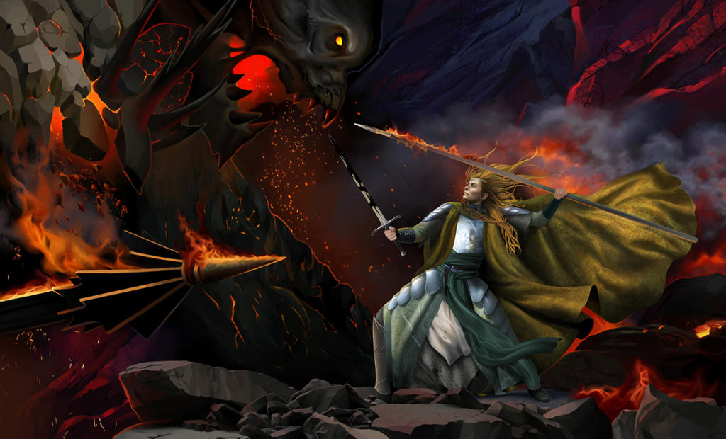Glorfindel And The Balrog On Edge Of Cliff By