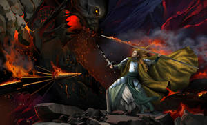 Glorfindel and the balrog on the edge of the cliff