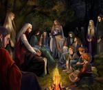Gildor,Sam,Pippin,Frodo and elves