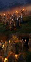 Funeral of Haldad, Haldar and the Men of Brethil. by steamey