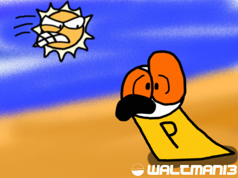 Phillo getting chased by the Angry Sun V2 by Waltman13