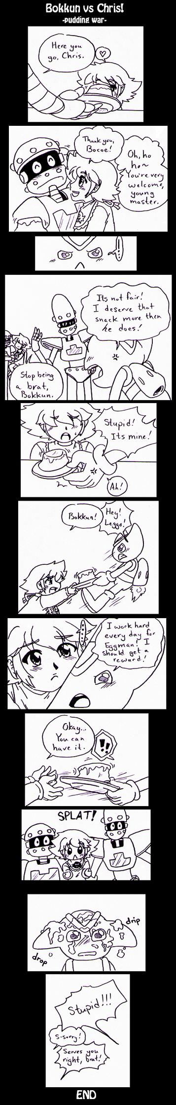 Sonic X - Chris vs. Bokkun pudding war by Cloud-Kitsune