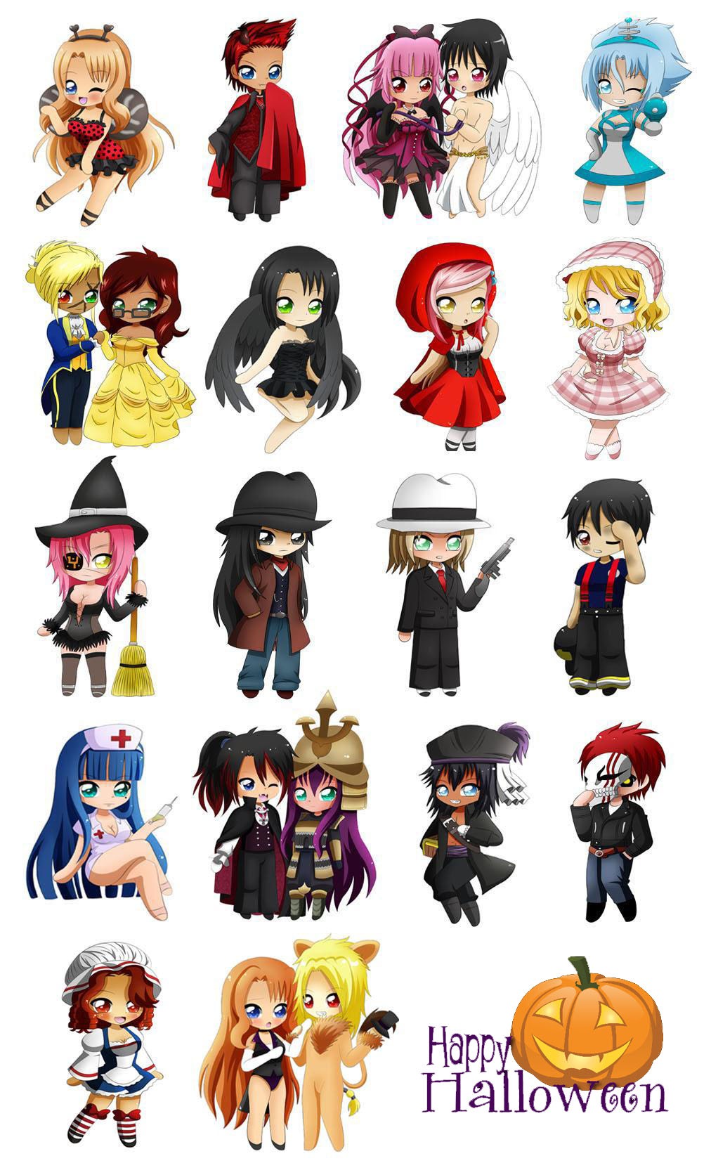 Anime Characters For Halloween : Bigc chibi halloween project by jusace on deviantart