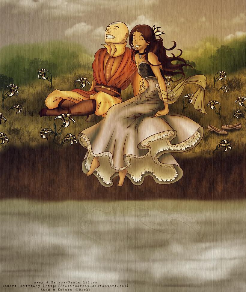 Aang and Katara - Panda Lilies by selinmarsou
