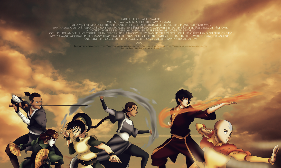 team avatar from korra opening colored in selinmarsou