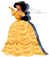 Commission - Jasmine as Belle - 2nd version by tiffanymarsou