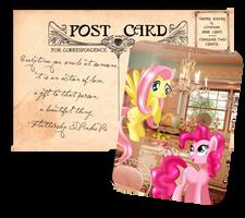 Pony Postcard - Fluttershy and Pinkie Pie by tiffanymarsou