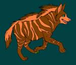 Striped Hyena Line Art Colored