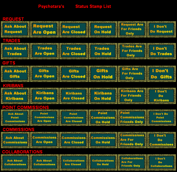 Status Stamp List by psychotara