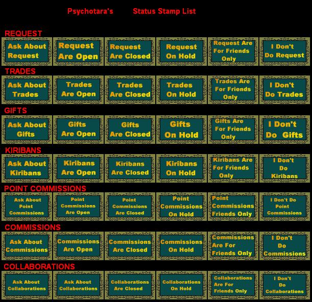 Status Stamp List by psychotara