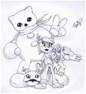 Art Trades: Shard - Bea and Her Digimon