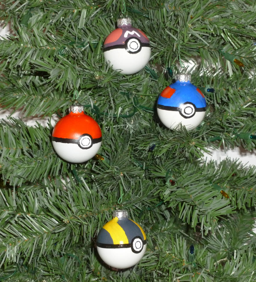 Pokeball Christmas Bulbs by DragonKazooie89