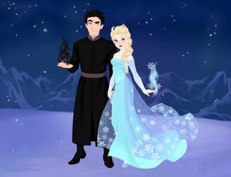 Pitch Black and Queen Elsa -Snow-Queen-Scene-Maker by LeiaScissorhands15