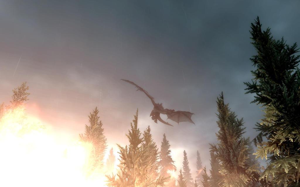 1366x768 dragon fire skyrim - photo #39