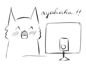 Cat reaction doodle (laugh)