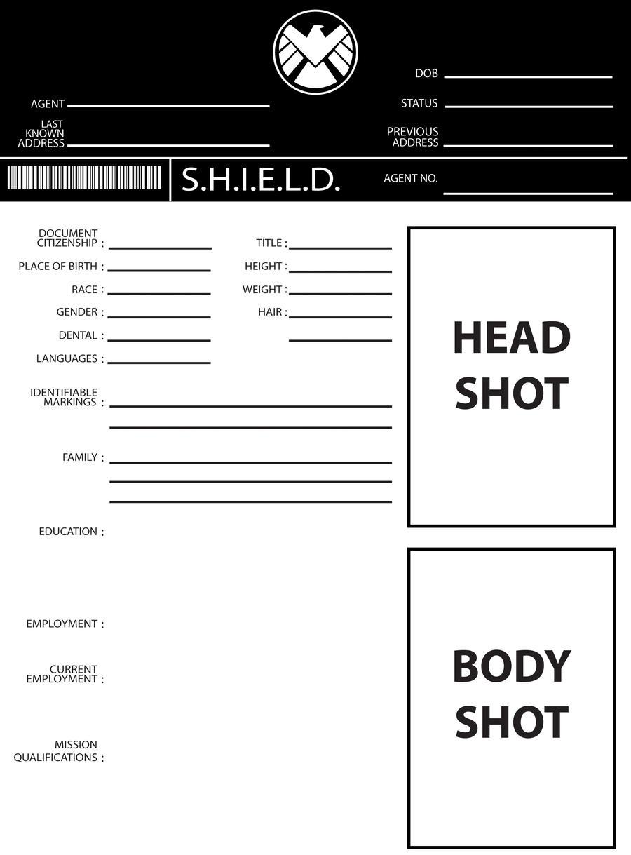 S.H.I.E.L.D Profile By TashaPhoenix S.H.I.E.L.D Profile By TashaPhoenix  Profile Sheet Template